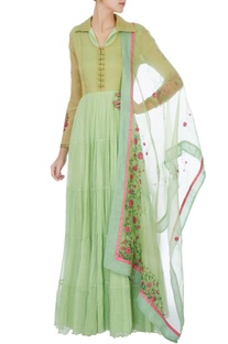 Green hand painted tiered anarkali with dupatta
