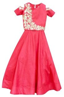 Coral pink embroidered lehenga