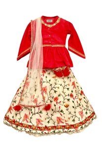 Red peplum top with cream lehenga & dupatta