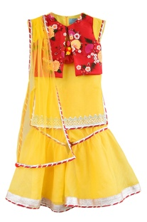 Yellow kurta & embroidered jacket set