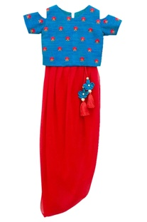 Blue top & red dhoti pants