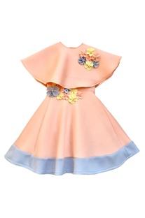 Peach flower motif party gown