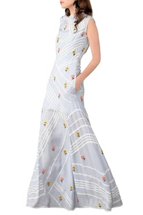 Cashmere blue chain stitch embroidered maxi dress