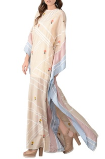 Beige floral embroidered kaftan