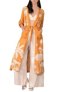 Orange front open tie-up jacket