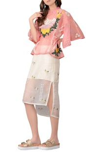 Pink 3D embroidered skirt and top set