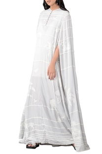 Grey drill stripe applique maxi kaftan