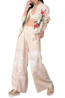 Beige embroidered top and pant set