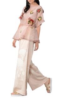 Pastel pink organza ruffle blouse