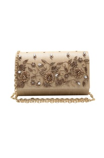 Baby pink zardozi embroidered clutch