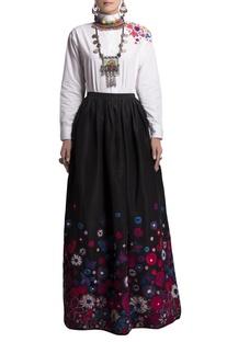 Black taffeta skirt & oxford shirt