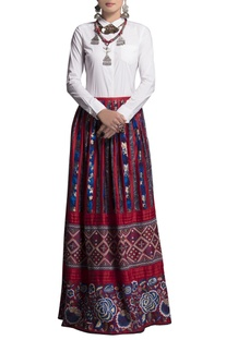Blue & red embroidered skirt