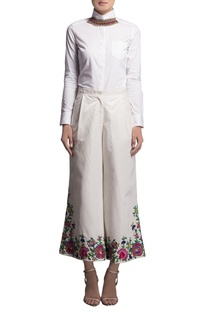 White embroidered cropped palazzos
