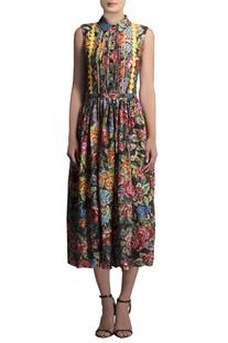 Multicolored floral chanderi dress