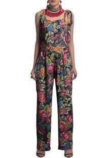 Multicolored crepe jumpsuit