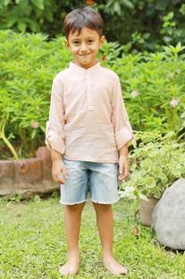 Orange check kurta shirt