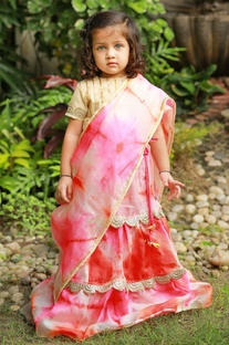 Pink & peach leheriya dyed lehenga set