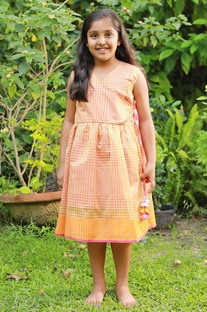 Orange hand-woven cotton dress