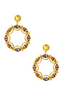 Gold plated swarovski circular sunset earrings
