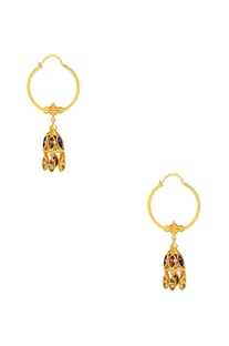 Gold plated swarovski jhumka hoop earrings