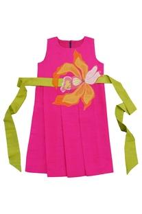 Pink applique skater dress