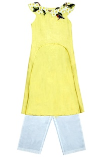 Yellow embroidered tunic and trousers set