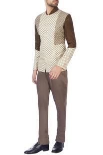 Brown & beige moonga silk jacket