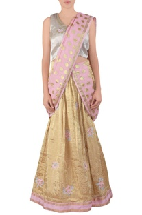 Gold butta tissue lehenga sari set