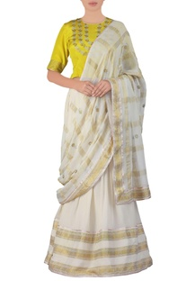 Yellow embroidered georgette lehenga sari set