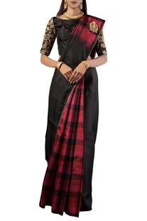 Black checks silk sari with blouse