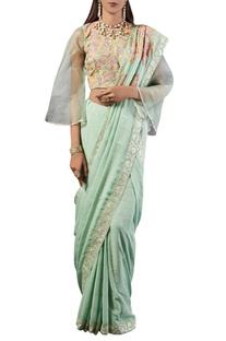 Sea green check print georgette sari with blouse