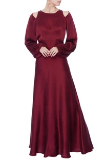 Oxblood satin open back satin gown