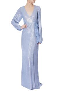 Baby blue sequin wrap-around gown