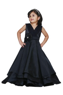 Black pleated party gown