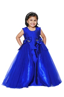 Ink blue gathered embellished gown