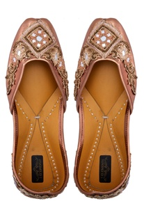 Copper leather embellished jootis
