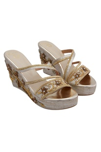 Gold brocade wedges with zardozi straps