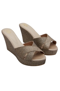 Gold glitter embellished 5.5-inch wedges