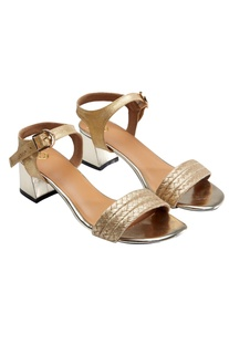 Gold strappy evening sandals