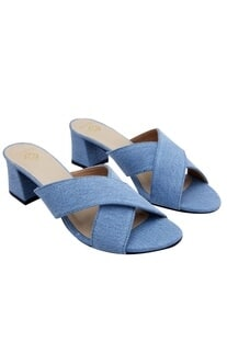 Sky blue denim criss-cross sandals