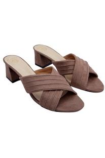Fawn brown criss-cross sandals