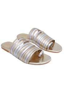 Silver & gold sandals with multiple straps
