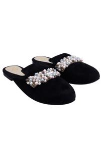 Black suede pearl embellished mules
