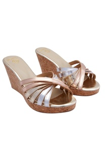 Silver & rose gold multiple straps wedges