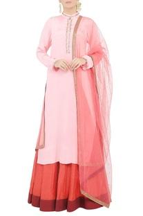 Powder pink beaded kurta and skirt set