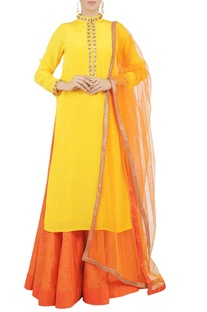 Yellow beaded kurta and skirt set