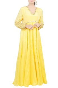 Lemon yellow embroidered maxi dress