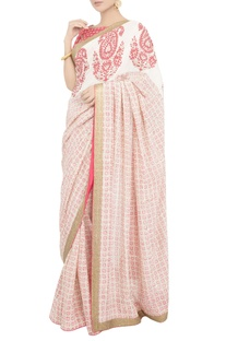 Peach block print sari with blouse