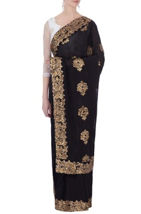 Black georgette sequin embroidered sari & blouse