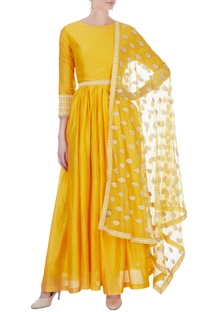 Yellow dots embroidered anarkali suit